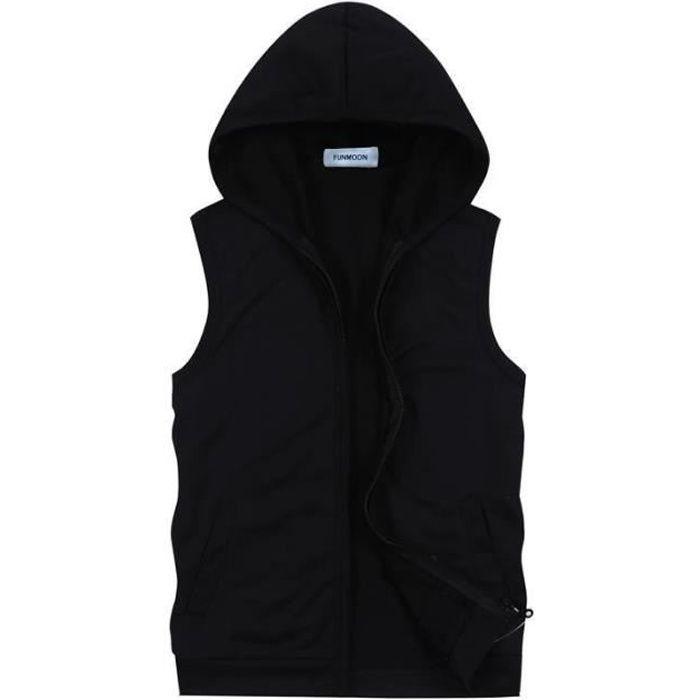 Sweat-Shirt Capuche Sans Manches Homme Veste En Jeans Sans Manches Homme  Gilet Sans Manches Homme,Noir,XXL 903714c35a55