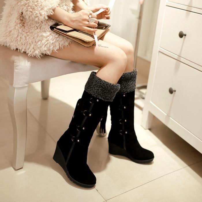 GLAM®Femmes hiver mi-veau chaussures boucle carré chaussures à talons bas
