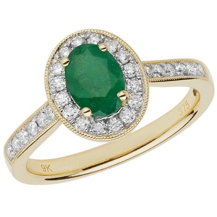 Bague Femme Pavage Or 375-1000 et Diamant Brillant 0.33 Carat HI - I1 avec Emeraude 30309
