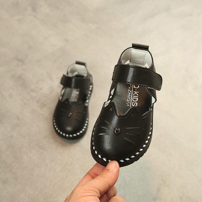 Cuir Enfant Ylk80226592bk Princesse Noir Filles En Sandales Pour Exquisgift®mode Chaussures Chat Rvwt00