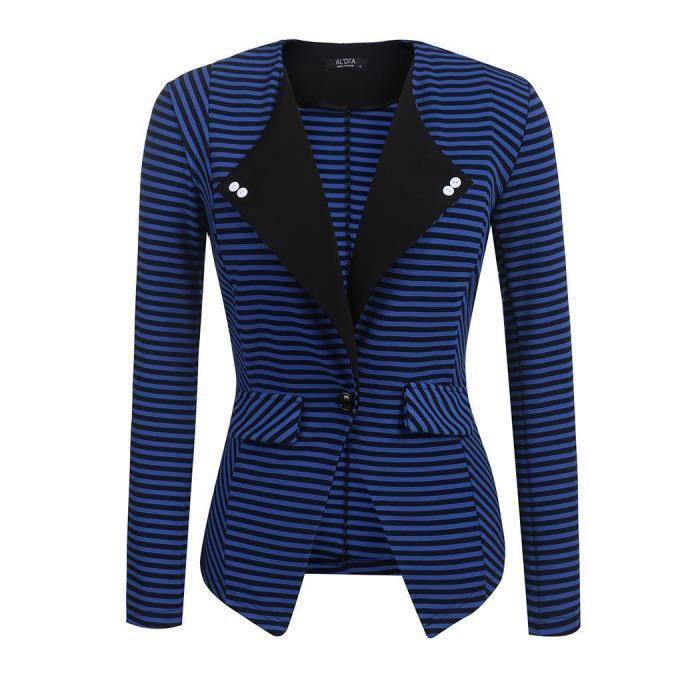 Rayé Couleur Revers Bouton Casaque Slim Femmes Fit Blazer Office Casual PwUqAtZ