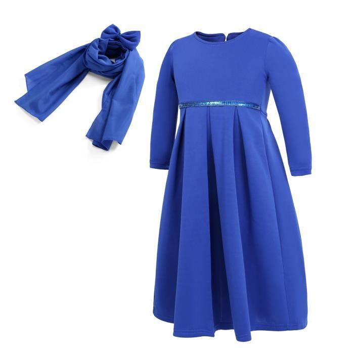 6a7cfa6fb613e Bleu Robe Longue Abaya Islamique Musulmanes - Robe avec Hijab et Noeud  Papillon - Manche Longue- pour Fille Enfant