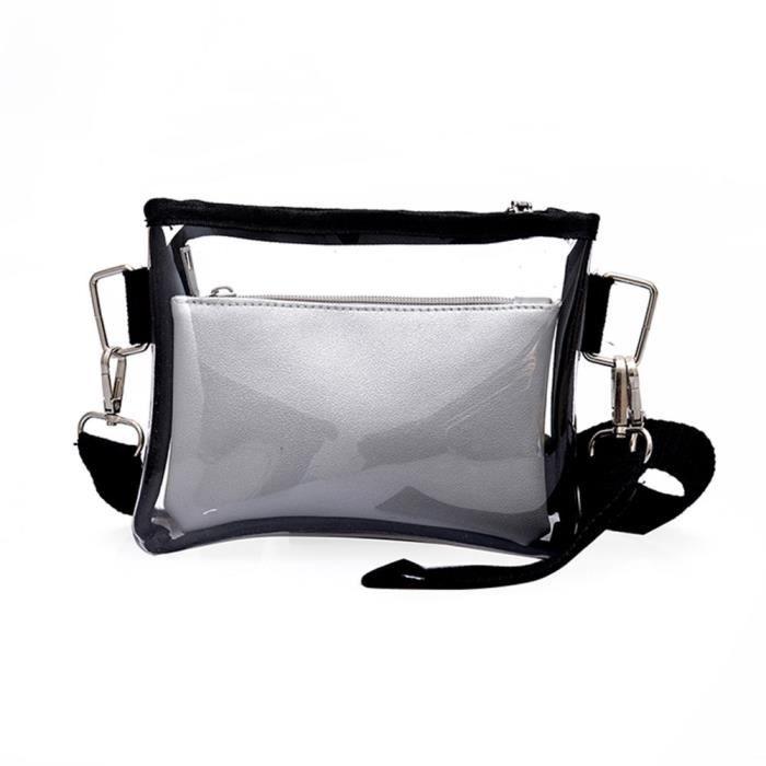 Petit sac carre transparent a rabat de mode pour les femmes Sacs a  Bandouliere en chaine Sac de messager Argent 32377e74513