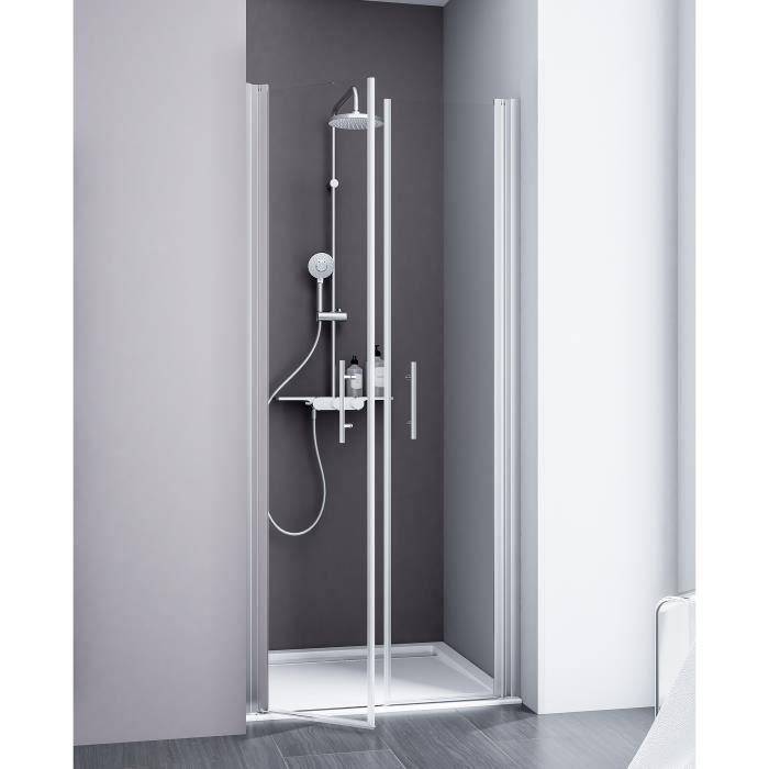Portes de douche battantes style 2 0 80 x 192 cm anticalcaire verre transp - Porte de douche occasion ...