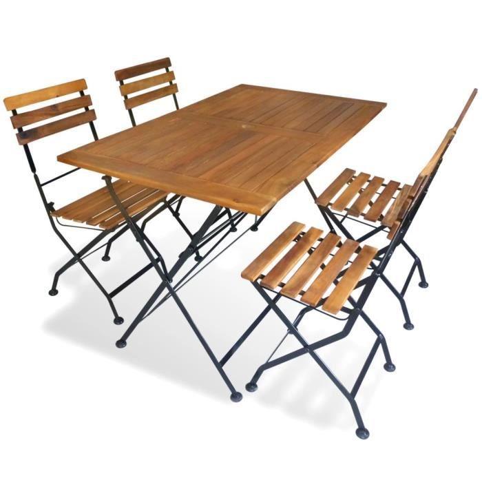 4 Jardin En D'acacia Table Salon Chaise Pliable Et Bois 1 De deBCox