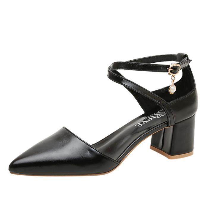 Chaussures Sandales Simples Ceinture Pointed Femmes Boucle À Haut Noir De Robe Talons Talon c534jLRqA