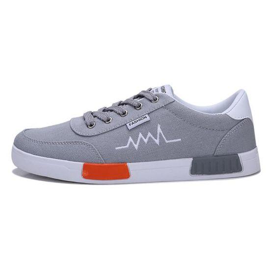 Jusqu'à Snekaer Hommes Résistant Bout Plat Rond Gris Wear Casual Chaussures Confortable Dentelle O8wnk0P