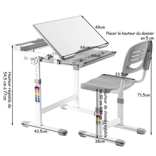COSTWAY Ensemble Bureau Et Chaise Pour Enfant Etudiant Table Hauteur Rglable Avec Tiroir Inclinables Gris