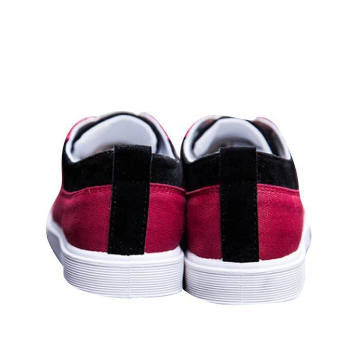 Chaussures en toile Basket Hommes Basses Quatre Saisons Nouvelle Mode ZX-XZ115Rouge42