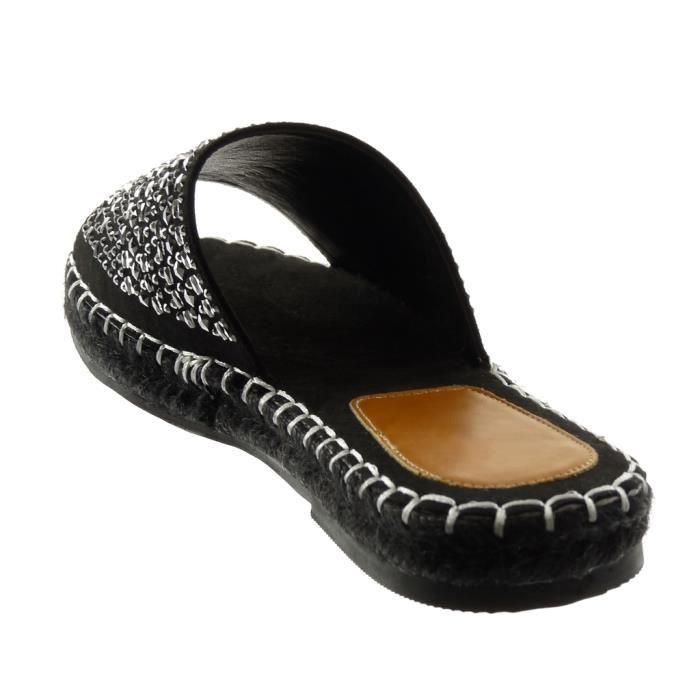 Angkorly - Chaussure Mode Sandale slip-on femme Strass corde finition surpiqûres coutures Talon bloc 2.5 CM - Noir - 303-53 T 35