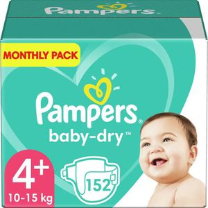 COUCHE PAMPERS Baby Dry Taille 4+ - 9 à 18kg - 152 couche