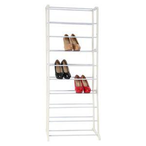 MEUBLE À CHAUSSURES 140x55x17cm étagère à chaussures réglable de 10 ra