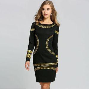 906a2a2e5e3 Robe femme Finejo robe femme à Paillettes Manches Longues robe de Soirée
