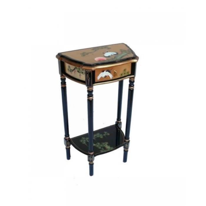 console main peint or feuille grue conception table o