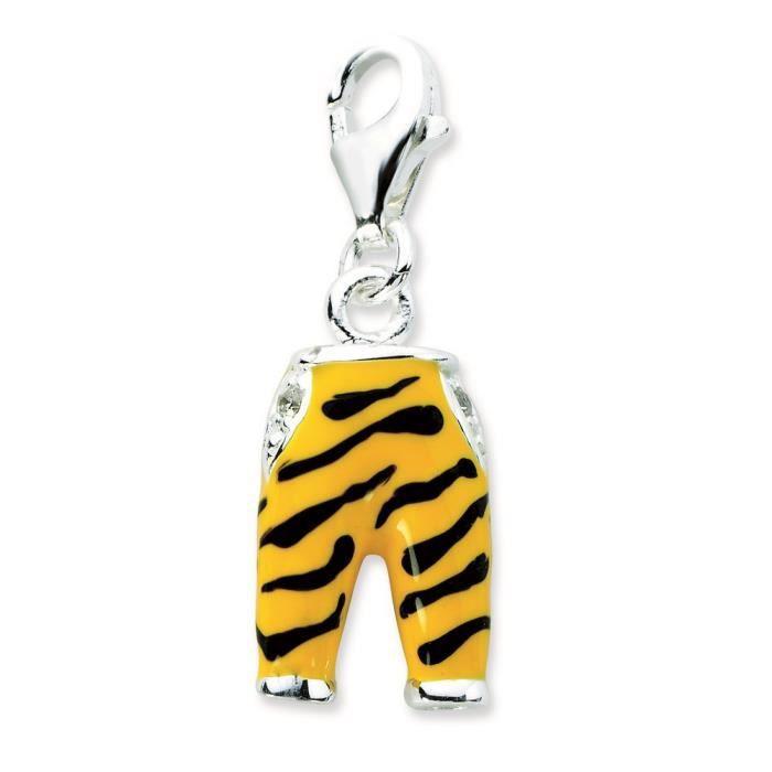 Argent Sterling CZ Click-Sur-Pantalon-Émail-Tigre-Dimensions :28 x 10