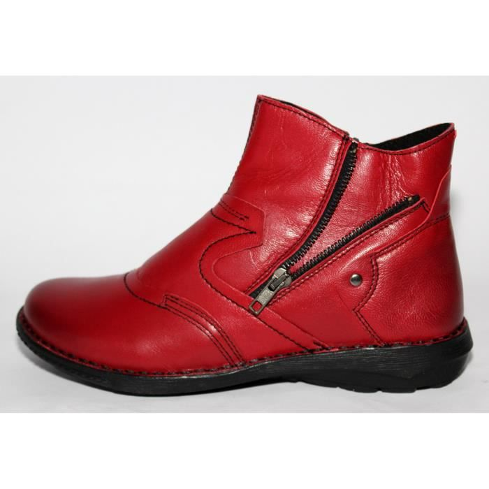 a7a9ff5afca BOTTINES CUIR ROUGE CHAUSSURES FEMME T 41 NEUVES CUIR ROUGE - Achat ...