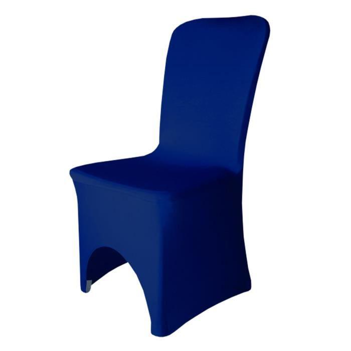 Bleu Royal Decorative Spandex Housses De Chaise Front Arque