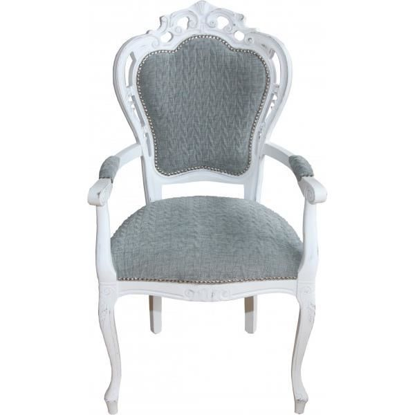 Casa Padrino Diner Baroque Chaise Avec Accoudoirs Antiques Gris Bleu Blanc