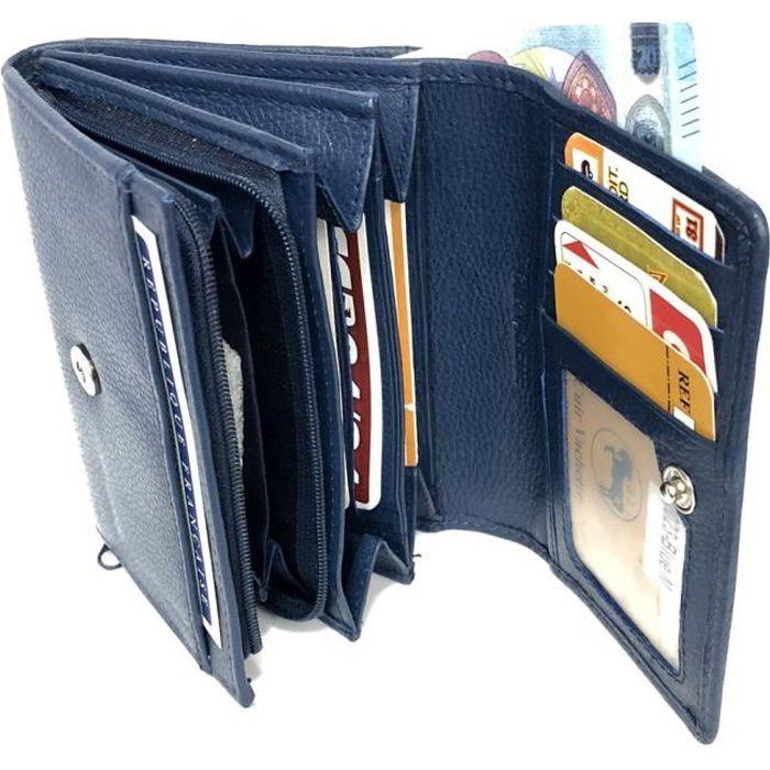 Carte Bleue Zip.Porte Monnaie Femme Cuir Veritable Zip Portefeuille Compagnon 12 Cartes Billet Monnaie Identite Permis Bleu Marine Loluna