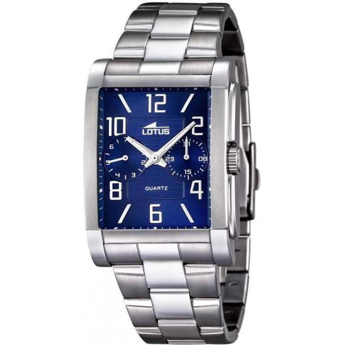 montre homme lotus l18220 2 cadran rectangulaire fond bleu achat vente montre montre homme. Black Bedroom Furniture Sets. Home Design Ideas
