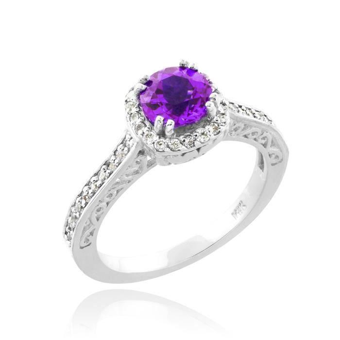 Bague Femme Alliance 10 ct Or Blanc 471/1000 Améthyste Solitaire Halo Diamant Pave