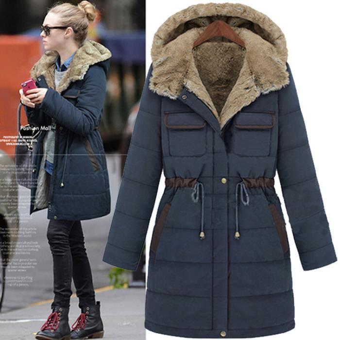 parka longue femme hiver capuche laine bleu achat vente parka cdiscount