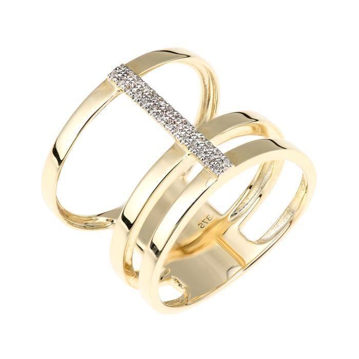 Revoni - Bague en or jaune 9 carats et triple épaisseur de diamants