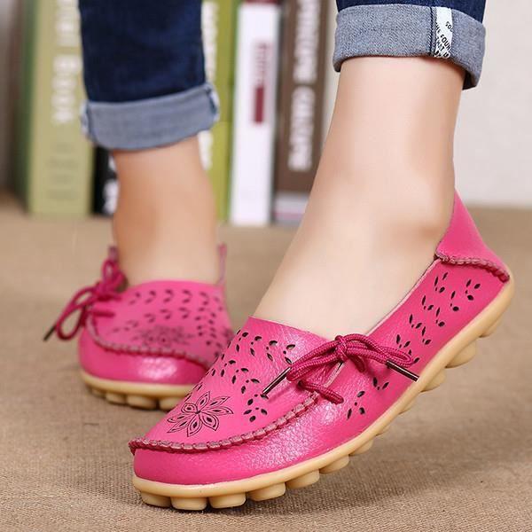 Femme Pois Chaussures Plates Cuir Respirant CreuxDécontracté