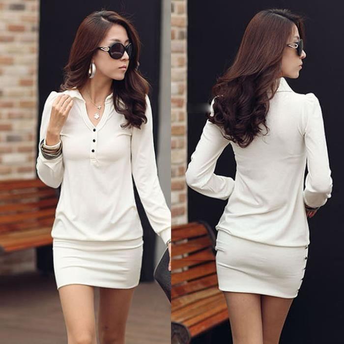 Mini robe Femmes point bouton de col du Haut-Sac à manches longues Hip Slim