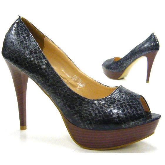 femmes chaussures Designer Look en cuir de serpent Plateau l'escarpin Peep Toes noir 37