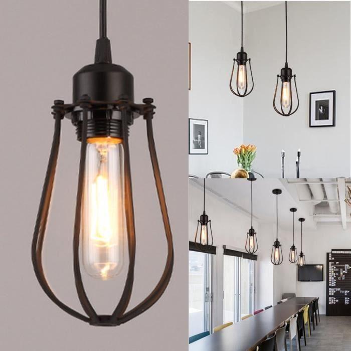 Plafonnier Cages Luminaire De Led Suspension Fer Lampe Vintage Éclairage Rétro k0wP8nXO
