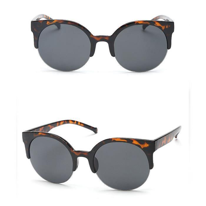 677 Lunettes de soleil Vintage Cat Round Semi-Rim Eye Sun pour hommes Sun