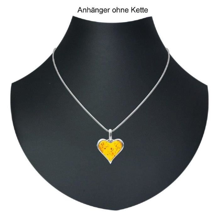 In Collections - 0010204010780 - Pendentif Femme - Coeur - Argent 925-1000 - Ambre USQGD