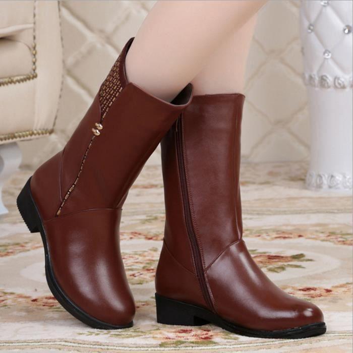 Femmes hiver bottes au genou bottes en cuir véritable longues