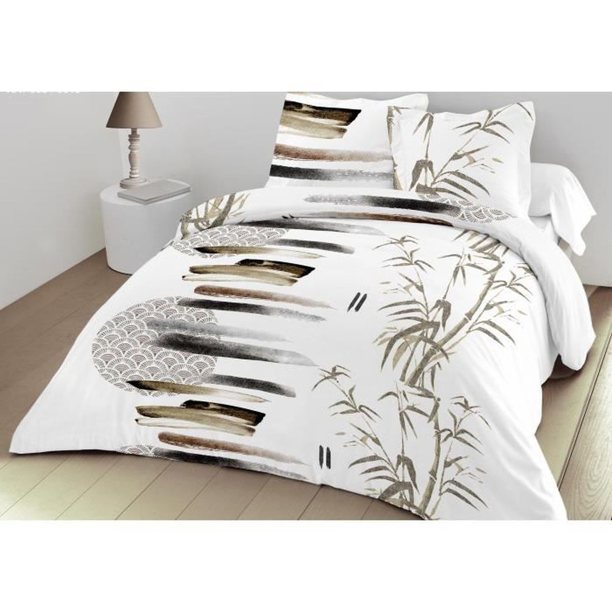 cheap parure housse de couette nature x taies with housse de couette 240x260 alinea. Black Bedroom Furniture Sets. Home Design Ideas