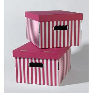 BOITE DE RANGEMENT SHIRT Lot de 2 boîtes rayées rose 40x31x21 cm