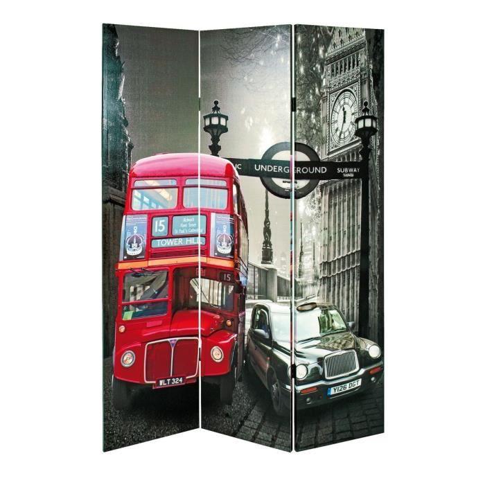 Matière : sapin - Dimensions : 180 cm - Coloris : gris et rougePARAVENT