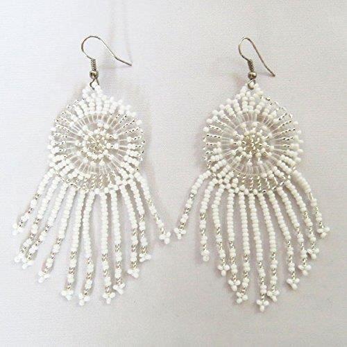 Boucles doreilles en perles dAfrique Zulu féminin - Dreamcatchers (petit) - Collection Cloud - cadeau pour elle F5I43