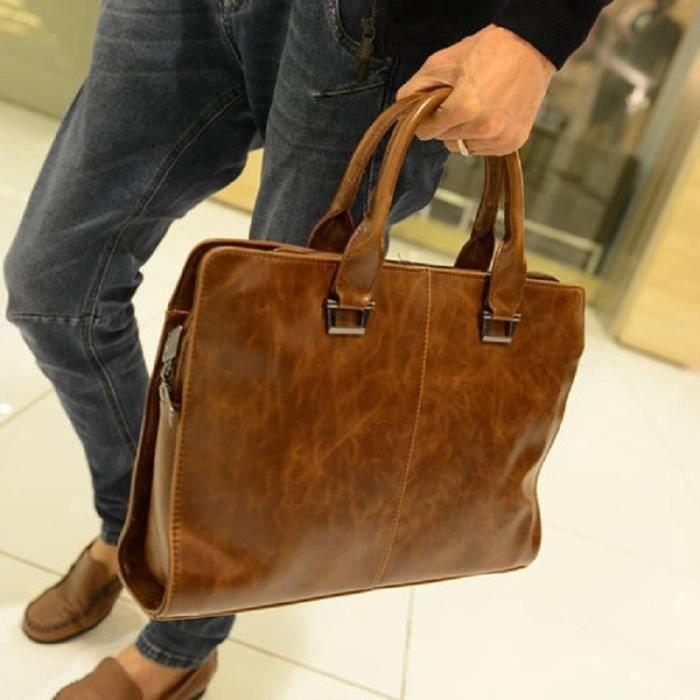 sac à main Sacs homme de haute qualité de cuir de buffle Sac étanche Sac en cuir Tablet PC pour les hommes daffaires Porte-d-1363