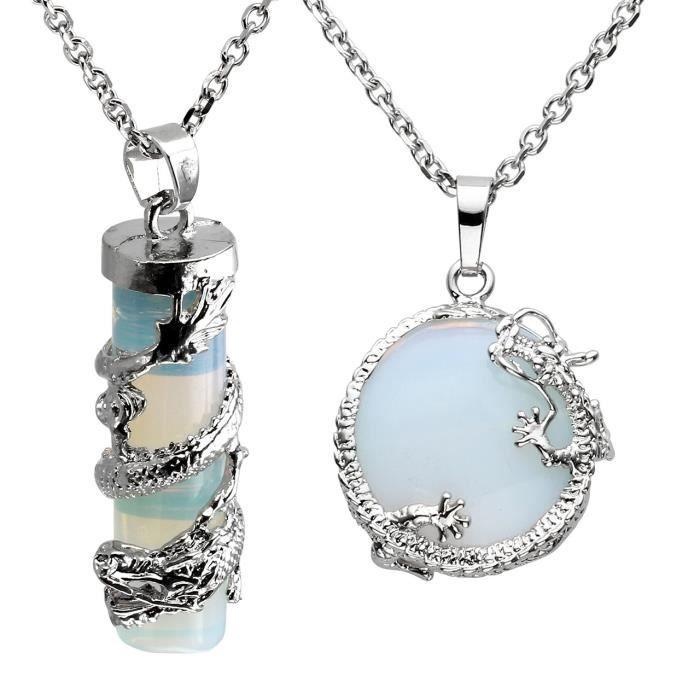 Pendentif Pierre Naturelle Pierre De Lune Opal Colonnaire Et Cercle