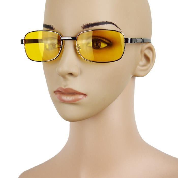 4d37af0f59 Polarisée Uv homme femme Lunettes de soleil Lunettes de vision nocturne  conduite lentille jaune Résine Fashion Gun