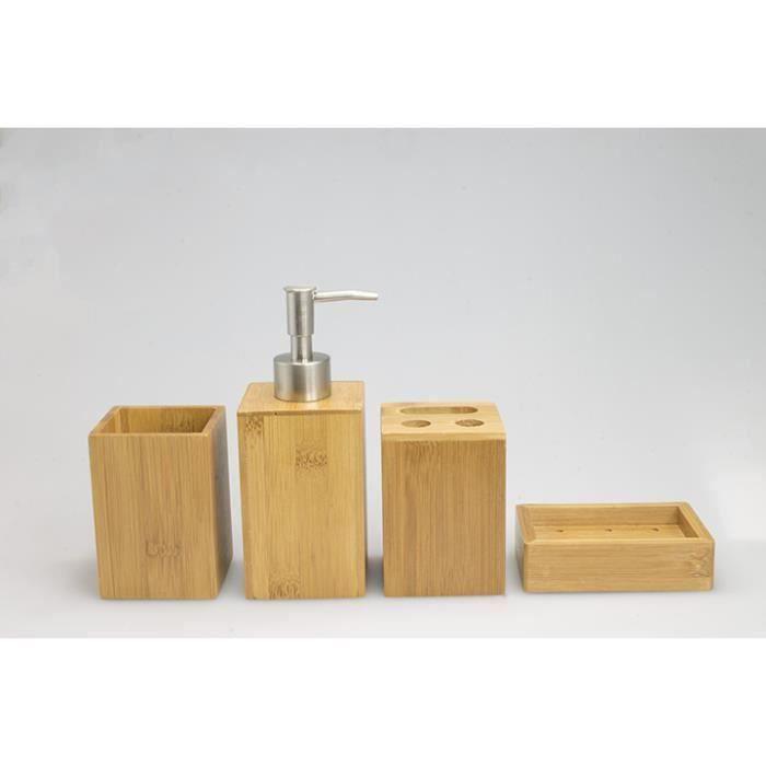 set 4 accessoires salle de bain en bambou achat vente. Black Bedroom Furniture Sets. Home Design Ideas