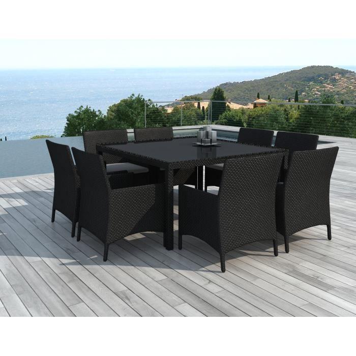 Table Et Chaises De Jardin 8 Personnes En Resine Tressee Noire