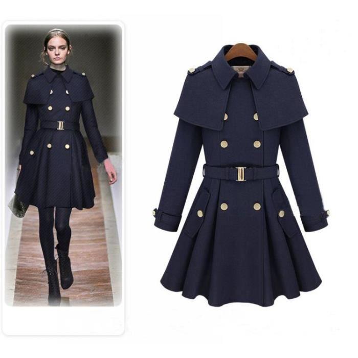 manteau femme de soir e style f minin coupe ven bleu. Black Bedroom Furniture Sets. Home Design Ideas
