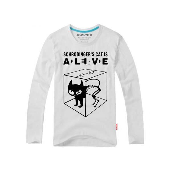 Tee Shirt Chat De Schrodinger Coton Look Decont Blanc Achat