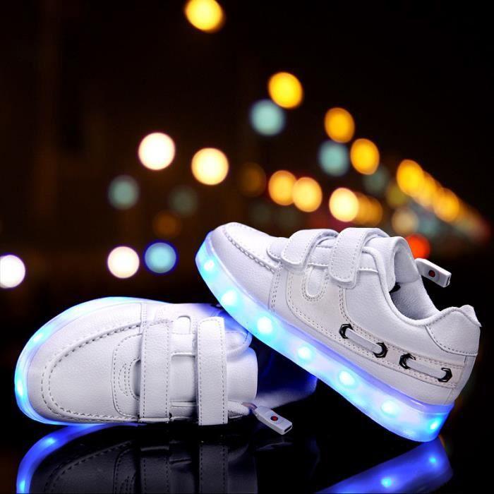 Mode LED chaussures légères enfants Sneakers mode USB charge lumineux lumineux garçon fille chaussures de sport chaussure LED Blanc