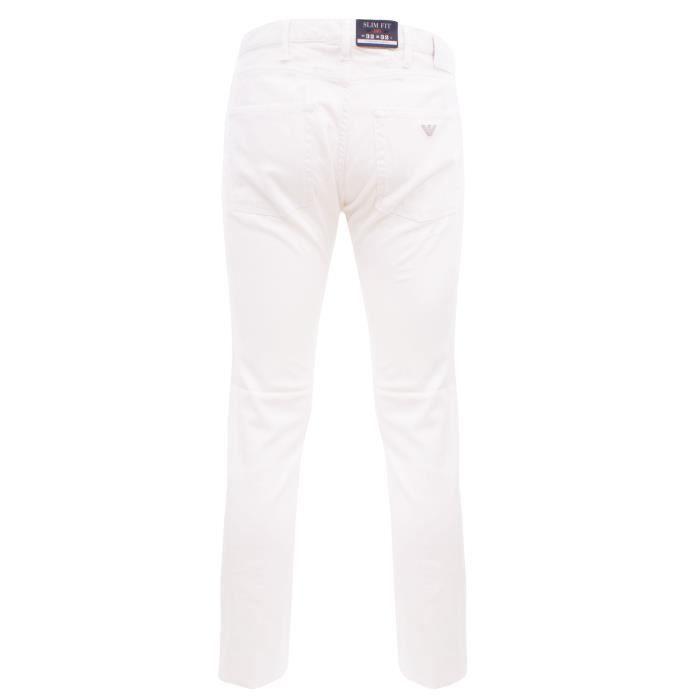 f79bfb04711 Armani Jeans C6J74 NA10 Pantalon homme en coton blanc Blanc Blanc ...