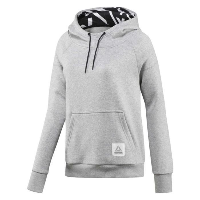 2fb4a5ad10a4 Vêtements femme Sweatshirts Reebok Workout Ready Cotton Series Over The  Head Hoodie