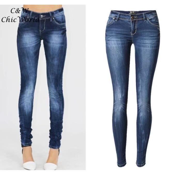 09aa7b0b05 Femelle Grande Taille Longue Jeans Femme Européen Style Taille Basse Slim  Élasticité Denim Jeans Automne Hiver Sexy Petit Jeans