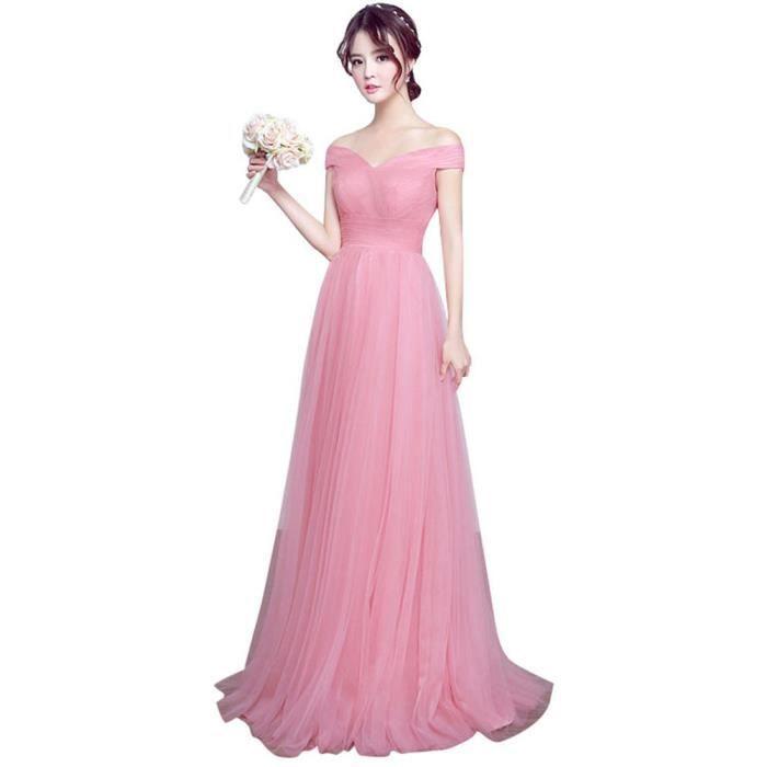 8974a7f6a73 Robe de Soiree Élégant Longue V-COL femme Cocktail Party Rose VV05425-2